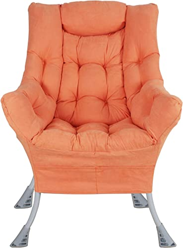 Superrella Modern Soft Accent Chair Living Room Upholstered Single Armchair High Back Lazy Sofa Orange