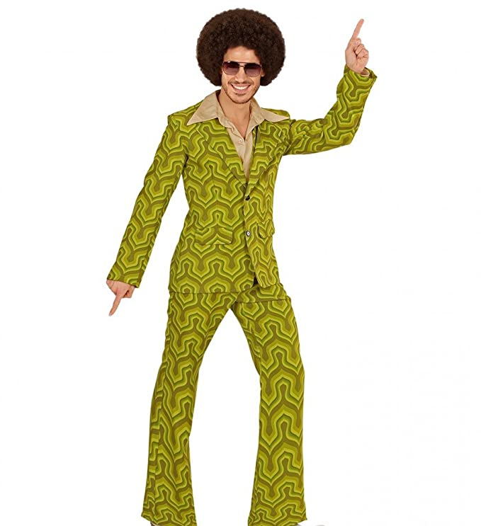70s Costumes: Disco Costumes, Hippie Outfits Shoperama 70s retro mens tracksuit wallpaper pattern green disco costume jacket trousers 70s Schlager £41.78 AT vintagedancer.com
