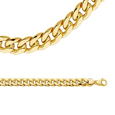 9f1b9e0aa021 Amazon.com  Solid 14k Yellow Gold Necklace Big Cuban Chain Hollow Curb Link  Large Light Genuine 10 mm 26 inch  Jewelry