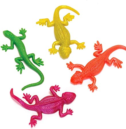 German Trendseller ® 12 x Geckos Extensible ┃Jouets élastique┃ Petit Cadeau┃ l'anniversaire d'enfant┃ mélange de Couleurs┃Pinata┃ idée Cadeau