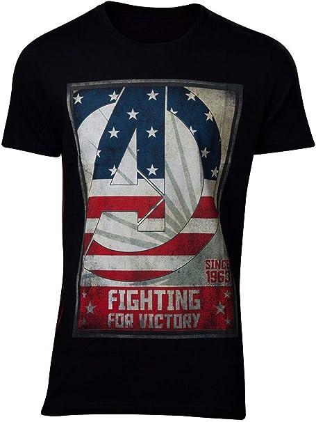 Camiseta para Hombre de Avengers Que Lucha por la Victoria Marvel Cotton Black: Amazon.es: Ropa y accesorios
