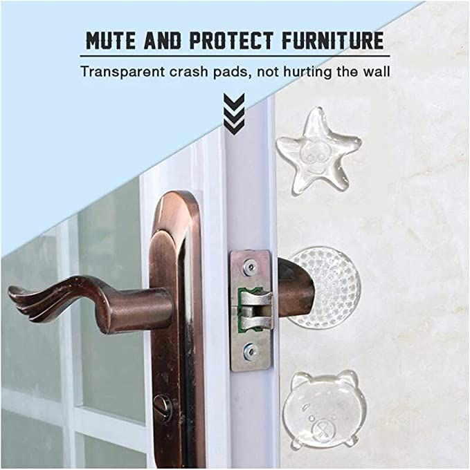 6pack Quiet More Discreet Than a Door Knob Safety Cover - Adhesive Reusable Bumper Protector Door Stopper Wall Protector Wall Shield /& Silencer for Door Handle Clear Shock Absorbent Gel