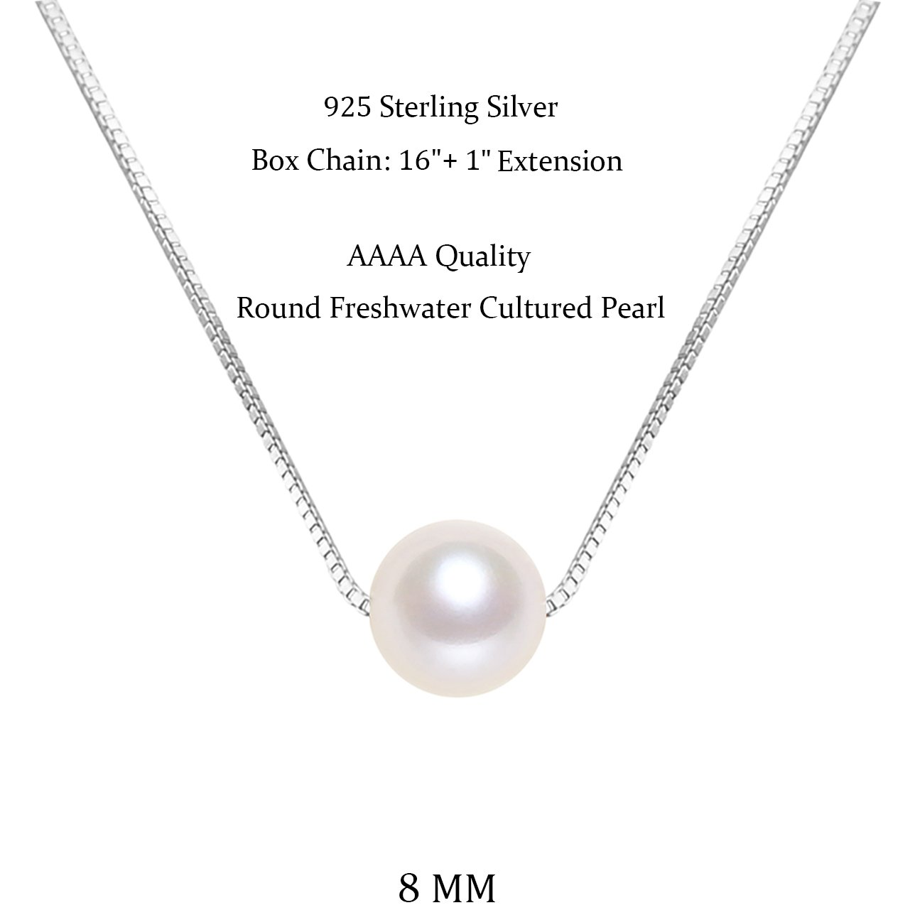 AAAA Quality Single White Round Freshwater Cultured Pearl Sterling Silver Necklace for Women 16 1 inch