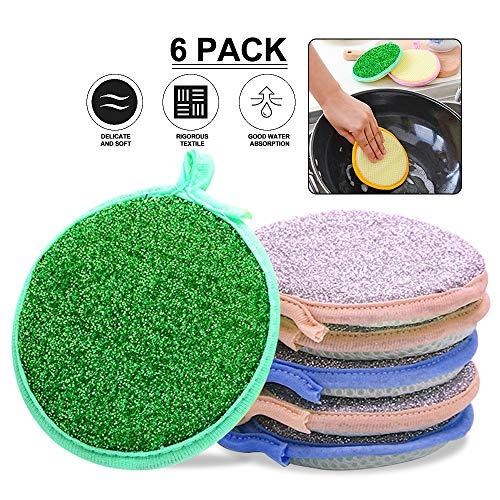 (SAYGOGO Dishwashing Sponge, Kitchen Sponge Scrubber, Multi-Purpose Sponge, Dishwashing Rag, Round Sponge, 6 Pack )