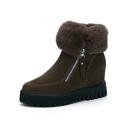 CCZZ Damen Stiefeletten Winter Schuhe warm Pelz Schnee Stiefel Schnür Boots mit Kunstfell warm gefüttert LkyuAB