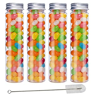 JPSOR 15pcs 110ml Clear Flat Plastic Test Tubes with Screw Caps, 140 x 35 mm, and 1 Test Tube Brush