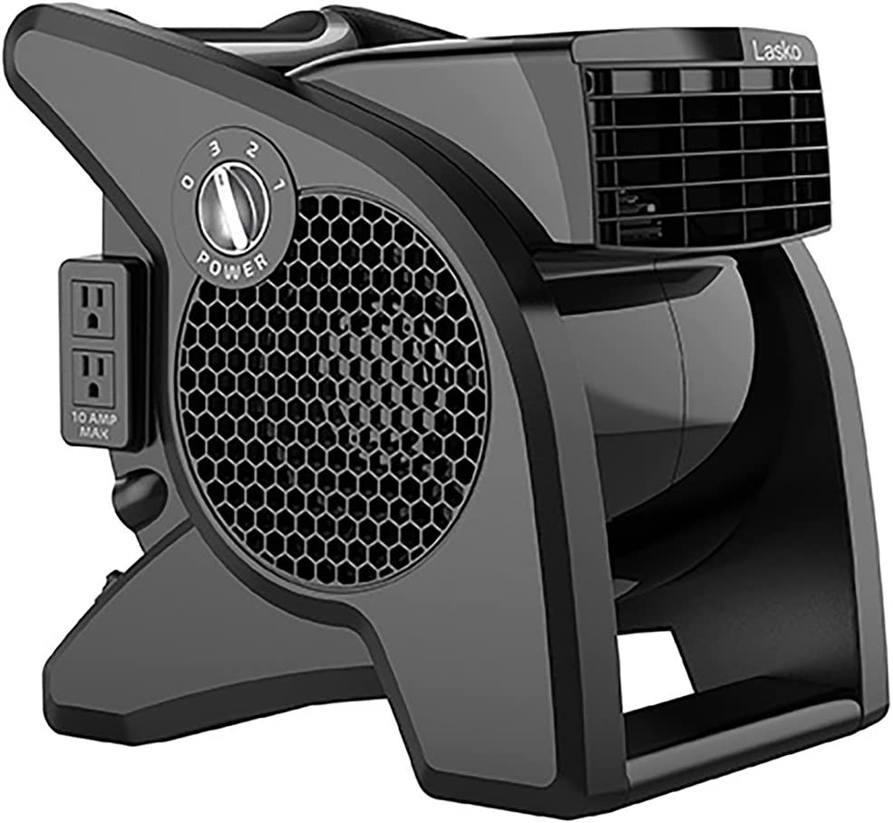 Lasko U15617 High Velocity Pro-Performance Pivoting Utility Fan for Cooling, Ventilating, Exhausting and Drying at Home, Job Site and Work Shop, Black
