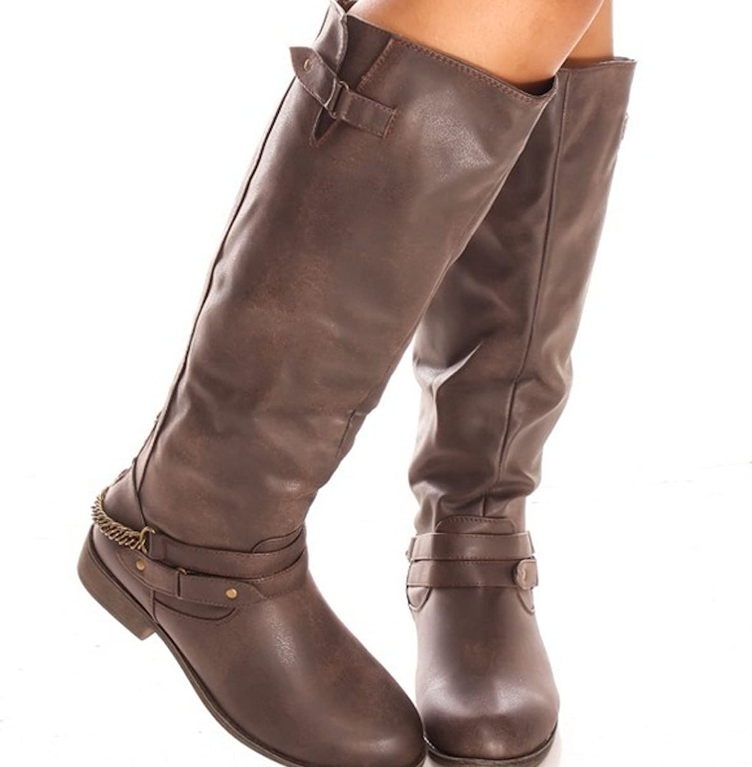 Women's Strappy Buckle Tan Faux Leather Riding Boots