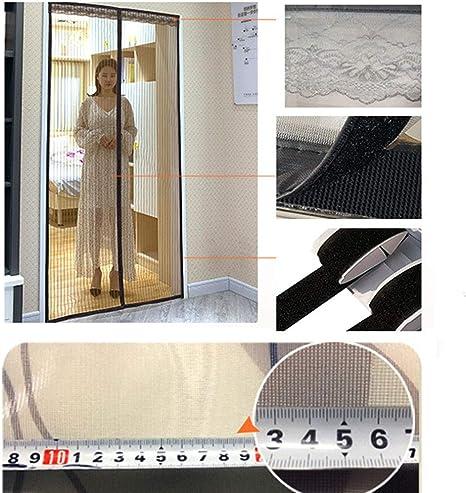 SYS-KCD Puerta magnética para mosquiteras, fácil de Instalar sin Perforaciones Se Adapta a Aberturas de Puertas de hasta 90 * 220 cm,StripedBlack: Amazon.es: Deportes y aire libre