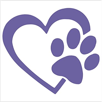 "HEART with DOG PAW Puppy Love 4"" (color: LAVANDER) Vinyl Decal Window Sticker for Cars, Trucks, Windows, Walls, Laptops, and other stuff.: Automotive"