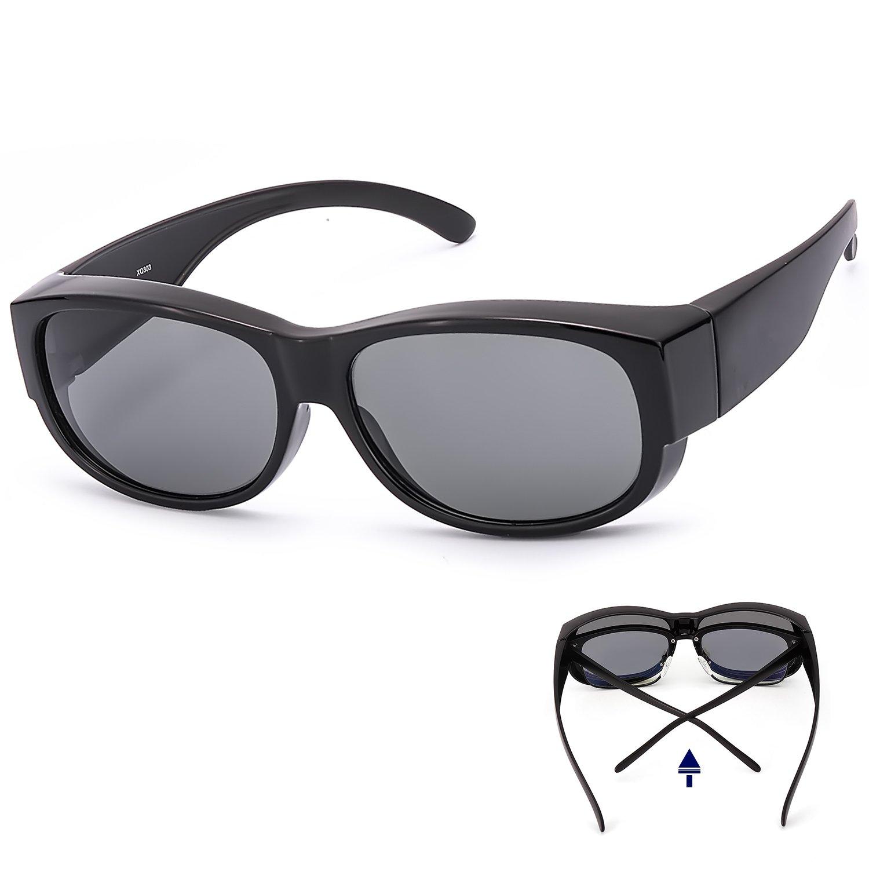 ec55e07980 Amazon.com  LVIOE Fit Over Glasses Sunglasses with Polarized Lenses ...