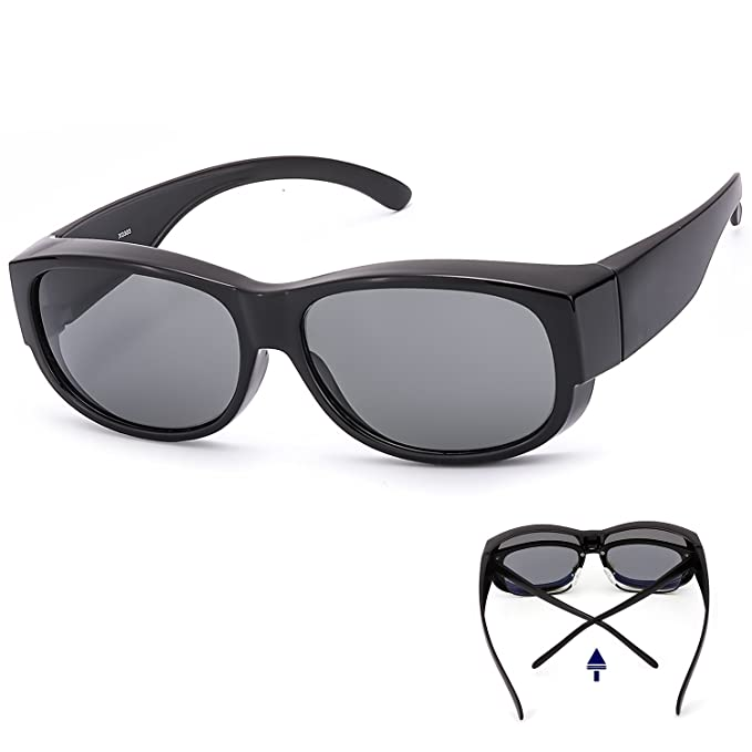 04644438bb0a Amazon.com  LVIOE Fit Over Glasses Sunglasses with Polarized Lenses ...