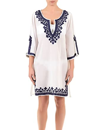 10f9f852367c Iconique IC7-095 Women s White and Blue Embroidered Kaftan  Iconique  Amazon .co.uk  Clothing