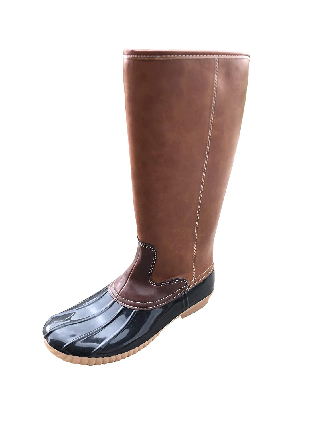 7b2226a21dc7c MONOBLANKS Fashion Women's Leather Tall Duck Boots, Plaid/Cotton Lined  Zipper Rain Snow Duck Boots Can be Monogrammed