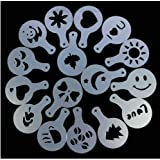 Akak Store 16 Piece Per Set Coffee Machine Barista Stencils Cappuccino Decorating Food Pastry Stencils Template Strew Pad Duster Spray Print Molds