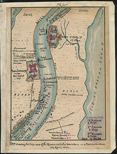 Vintage 1861 to 1862 Map of defenses of the Mississippi below New Orleans and Farragut's attack 24 April 1862. Map shows the Confederate fortifications at Fort Jackson under Gen. Duncan, - Orleans New Of Place Port