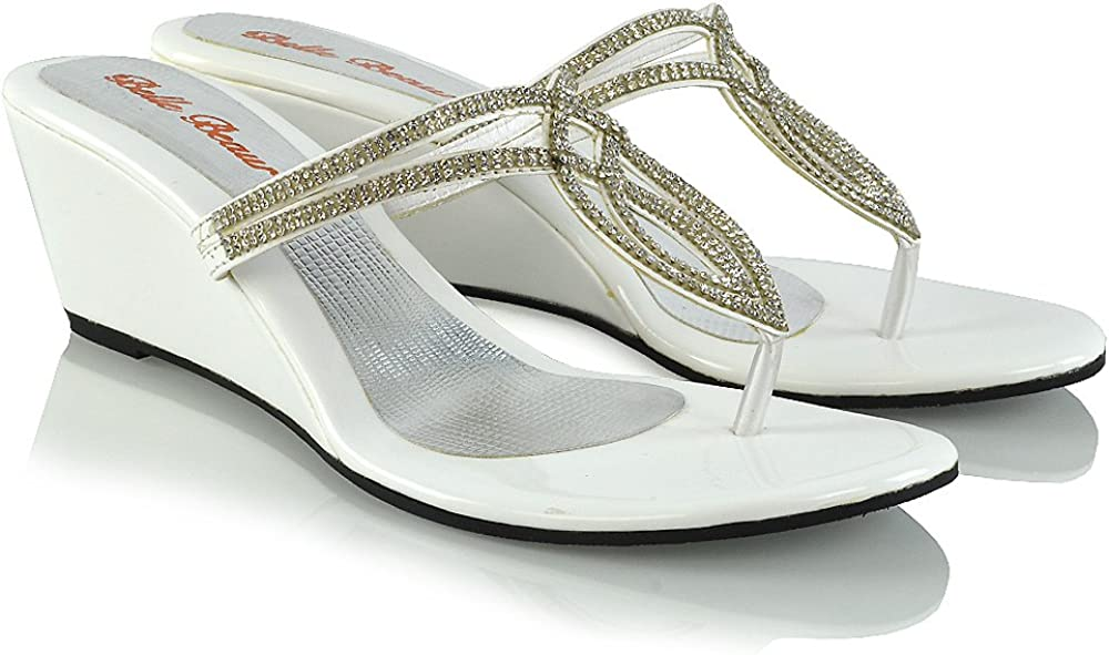 ESSEX GLAM Womens Diamante Wedge Heel Synthetic Toe Post Sandals