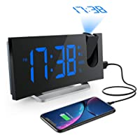 """Mpow Radio Despertador Digital Proyector, FM Radio Reloj Despertador con Proyector Digital de Alarma Dual con 4 Sonidos, 3 Tonos, 5 Brillos Ajustables, Pantalla LED 5"""", Puerto USB, 12/24 horas, Snooze"""