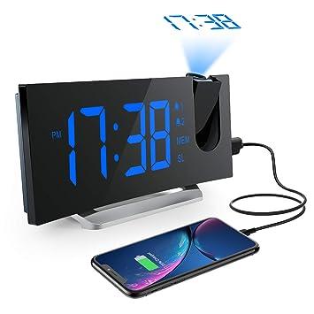 Mpow Radio Despertador Digital Proyector, FM Radio Reloj Despertador con Proyector de Alarma Dual con
