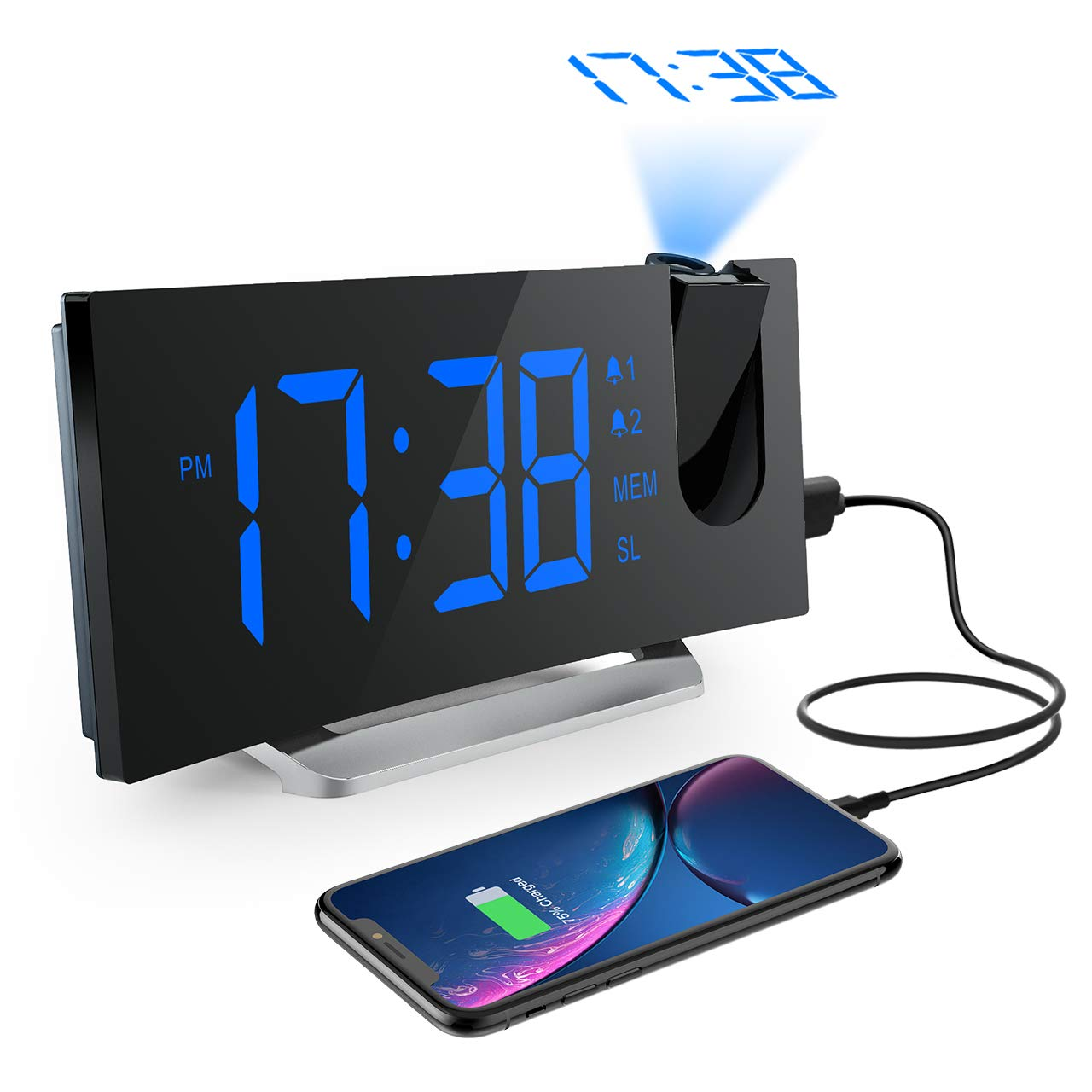 Radio Despertador Digital Proyector, Mpow FM Radio Reloj Despertadores Digitales de Proyección, Alarma Dual
