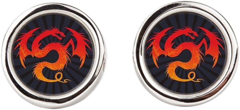 Tribal Fire Dragon Cufflinks Round
