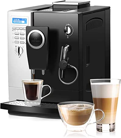 COSTWAY Super Automatic Espresso Machine, All-In-One Design, 19 Bar Pump, Built-In Milk Frother Steamer, Stainless Steel Removable Water Tank and Drip Tray, Frothing for Cappuccino and Latte, Barista Touch Coffee Machine Silver Black