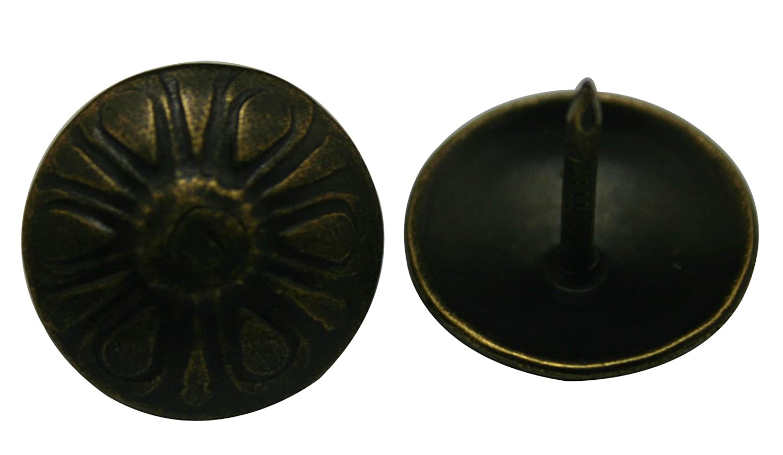Wuuycoky T/ête de clou ronde en forme de fleur en laiton antique