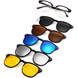 Premium Polarized Aviator Sunglasses, 5 in 1 Interchange Lenses for Driving, Walking, Running, Cycling, Clip on Magnetic UV Protection Sunglasses for Men and Women, Clear Vision and Fashionable for Sport and Activities, FREE High Quality Black Bag