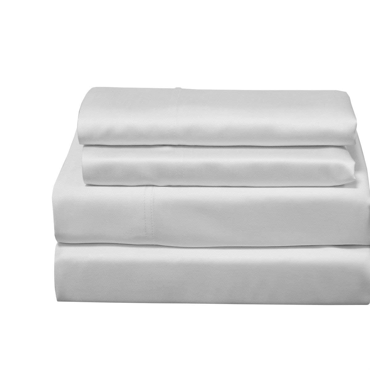 Abripedic 100% Bamboo Set of 2 Pillowcases, 600TC - Standard Size, Solid White - Super Soft & Cool Bamboo Viscose Pillow Case
