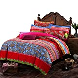 Auvoau Boho Style Bedding Set Bohemian Ethnic Style Bedding Set Boho Duvet Cover Set Camel Pattern Bedding Set Boho Bedding Set Fitted Sheet Set Queen / King 4pcs (Queen, 1)