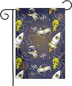 ZZATAA UFO Rocket Aliens Garden Flag Decoration Banner Decorative Sweet Home Yard Festival Outdoor 12X18inch
