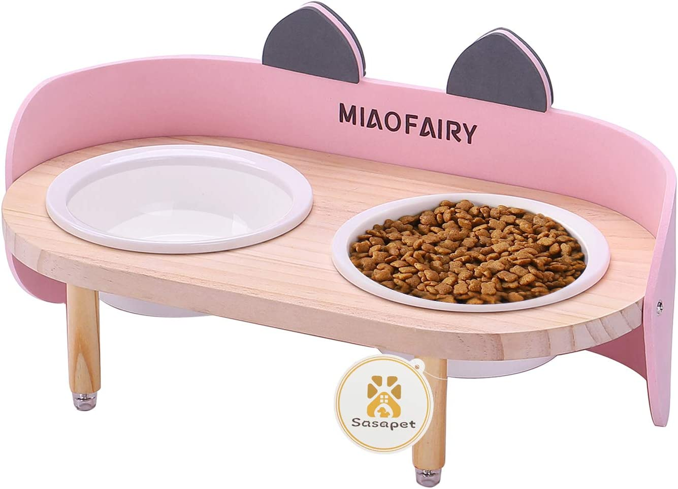 Sasapet Elevated Cat Bowls with Stand Feeder, Raised Wooden Stand with 2 Ceramics Bowl, Cat Food and Water Bowls Dishes, Cute Kitty Bowl for Cats and Small Dogs