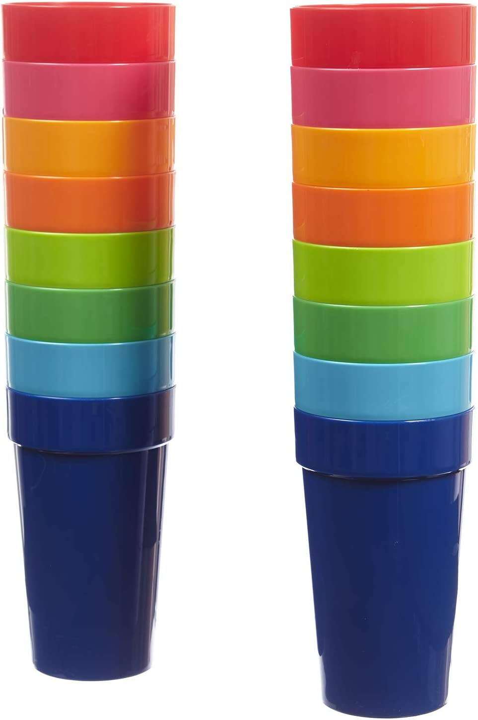 Spectrum 20-ounce Plastic Tumblers | set of 16 in 8 Assorted Colors