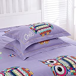 CHARM HOME Owl Bedding Full Size For Girls Boys Teen Purple Blue Red 100% Brushed Cotton Duvet Cover Set 4 Pieces
