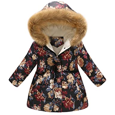 Zerototens Girls Coat,1-4 Years Old Toddler Baby Girls Long Sleeve Heart Print Hooded Jacket Autumn Winter Warm Padded Coat Kids Clothes Zipper Hoodie Tops Trench Coat