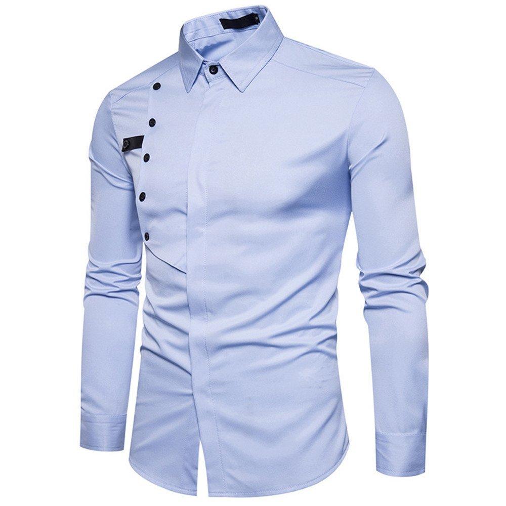 Shirts For Men, HOT SALE !! Farjing Men's Autumn Casual Formal Slim Long Sleeve Shirt Top Blouse(M,Light Blue) by Farjing