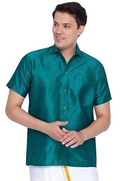 939327413dbcc7 Vastramay Men Green Cotton Silk Ethnic Shirt (VASMSH001GN)  Amazon ...