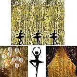 Adorox Metallic Silver Gold Rainbow Foil Fringe Curtains Party Wedding Event Decoration (Metallic Gold)