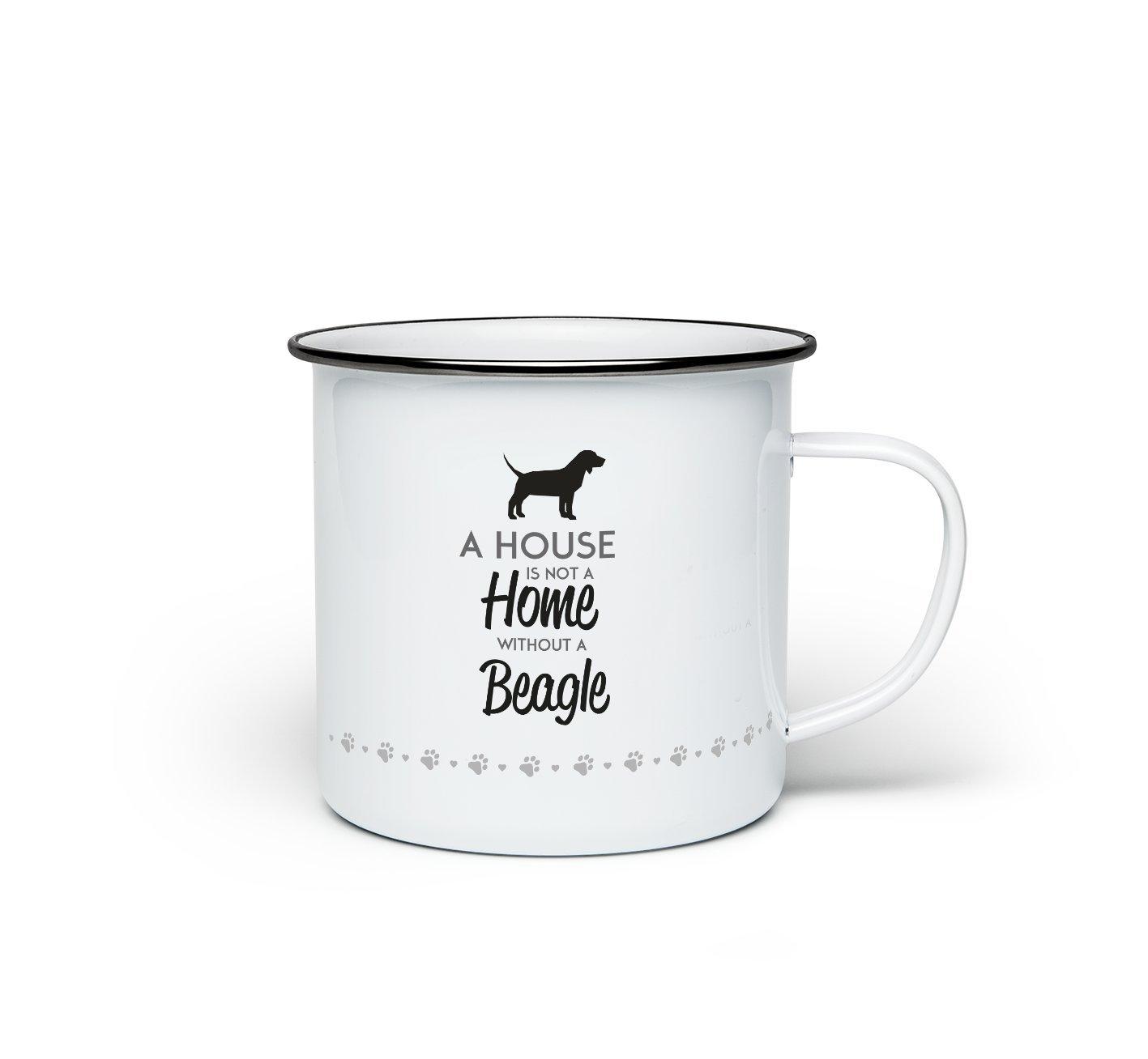 Une Maison n'est pas une maison sans un chien Beagle Mug cadeau en émail en métal Tasse à café thé Promofix Gifts