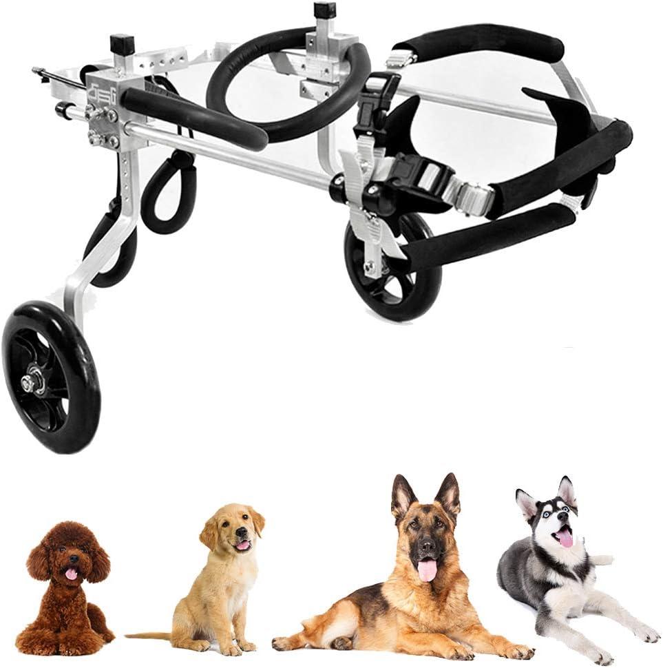 Silla de Ruedas, Soporte para Animal Ayuda Lifting, Rehabilitación Postoperatoria para Perros Viejos y Heridos, Patas Delanteras y Traseras, 2 Ruedas, 1~60 KG