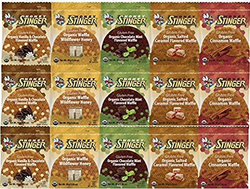 Honey Stinger Gluten Free Waffle Variety Sampler Pack With NEW FLAVORS - 15 Pack - 3 of Each Flavor