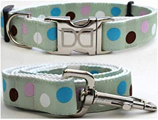 "product image for Diva-Dog 'Metro' Custom Medium & Large Dog 1"" Wide Dog Collar with Plain or Engraved Buckle, Matching Leash Available - M/L, XL"