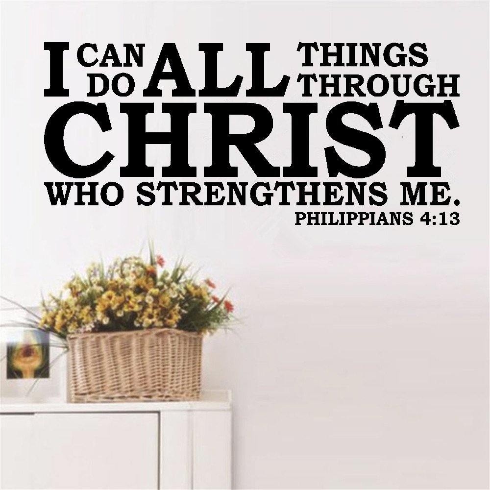 Wall Decal Wall Written Vinyl Wall Decals Quotes Sayings Words Art Deco Lettering Philippians 413 I Can Do All Things Through Christ who strengthens me