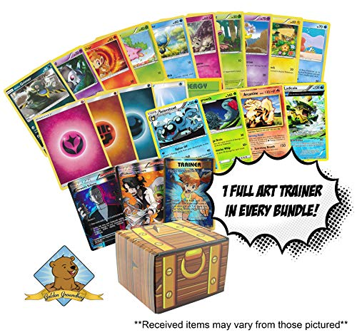 Card Treasure Chest - 100 Random Pokemon Cards - Featuring 1 Full Art Foil Trainer - 4 Rares - 5 Energy - 90 Common and Uncommon Pokemon Cards! Includes Golden Groundhog Treasure Chest Box!