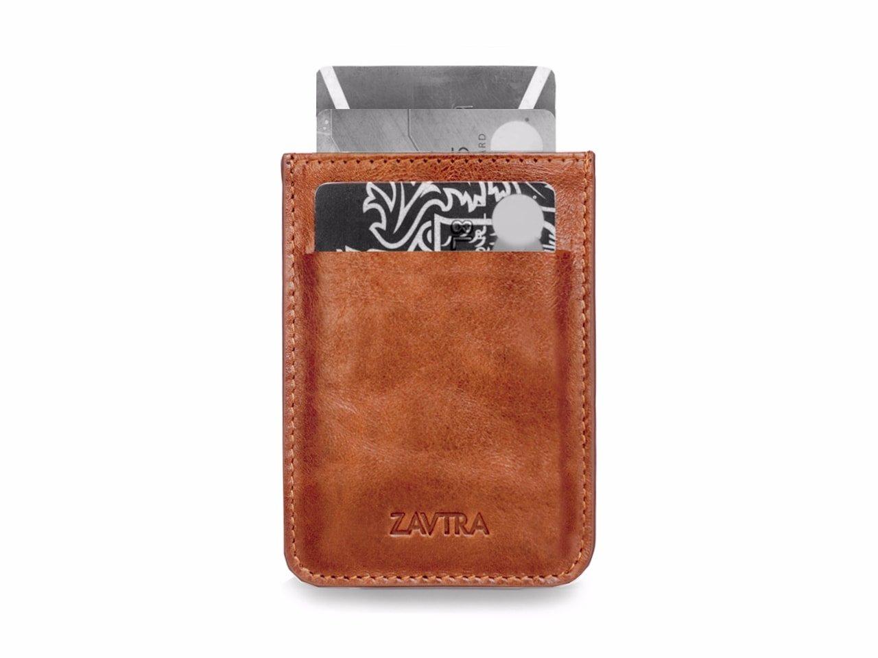 ZAVTRA Premium Men Minimalistic Slim Natural Leather Wallet Front Pocket Card Holder (Brown)