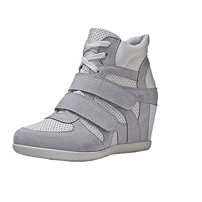 Rismart Damenschuhe formell versteckte Ferse-Keil-Velcro Leder Mode Sneaker Schuhe(Grau,39EU)