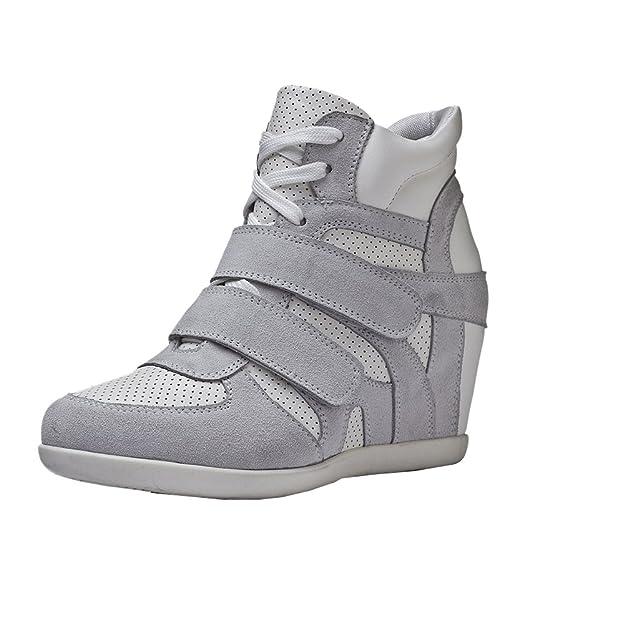 Generic Mujer Zapatos Formal Oculto Tacón Cuña Velcro Cuero Entrenadores (Gris, EU39): Amazon.es: Zapatos y complementos