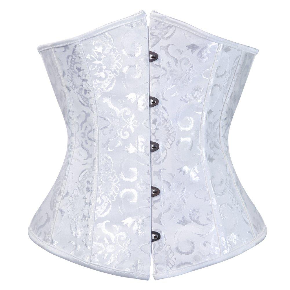 Grebrafan Gothic Bridal Wedding Steel Boned Corsets Waist Training Underbust Plus Size 2UG--9427G