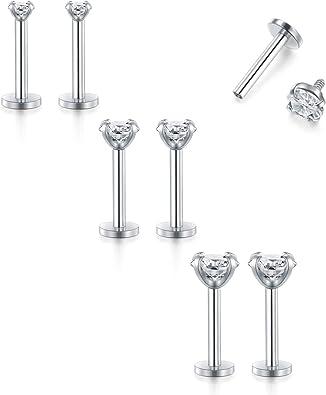 BodyJ4You 9PC Tragus Earrings Cartilage Studs 16G Rook Daith Nose Septum CZ