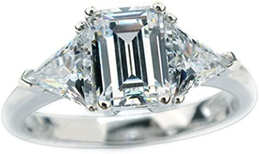 10x8mm Emerald Cut Engagement Ring 3 Stone Emerald Cut Ring Simulated Diamond Ring 14K Gold Plated 3 Stone Ring Anniversary Ring